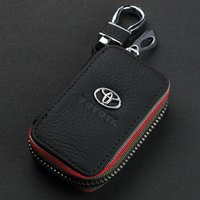 Wholesale Toyota Key Holders - 2016 NEW Fashion 100% Genuine Leather cowhide Car Key Holder Keychain Ring Black Case Bag for Toyota