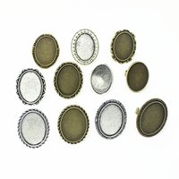 Wholesale Zinc Alloy Cabochon Mix - Sweet Bell 10pcs two color mix Metal Zinc Alloy Adjustable Ring Blanks mix size(Fit18*25mDia)Oval Cabochon Rings Settings JH2501