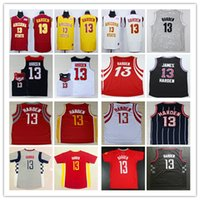Wholesale Blue Clutches - Cheap Mens 13 James Harden Jersey Red Clutch City Blue Black White Yellow Arizona State Sun Devils College James Harden Basketball Jerseys