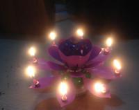 ingrosso candele di compleanno musicali di loto-Candela musicale d'arte Lotus Flower Happy Birthday Party Gift Luci rotanti Decorazione Candele Lampada 5 colori 20pcs