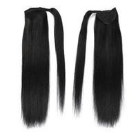 Wholesale jet black brazilian human hair resale online - 100 Human Hair A Straight Human Hair Drawstring Ponytail Extensions Real Hair Virgin Peruvian Ponytails Hairstyle jet black g g