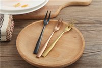 Wholesale cake forks - Food grade 304 stainless steel fruit fork Creative titanium fruit cake fork Four colors simple style gift