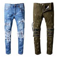 Wholesale Punk Rock Pants Zippers - JUSTIN BIEBER AMIRI Distressed Ripped Jeans For Men Brand Designer Motorcycle Moto Biker Denim Pants Men's Rock Punk Hip Hop robin jeans