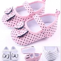 Wholesale Baby Step Shoes - Fashion Dot bow shoes first step neonatal soft soles baby bed shoes baby girl princess shoes shipping