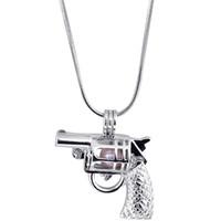 esferas de pistolas venda por atacado-2017 Novas Pérolas gaiolas pingentes Pistola forma Aberto Gem Contas Medalhões encantos Fit neckalces pulseira Para fazer Jóias (Excluindo Pérolas)