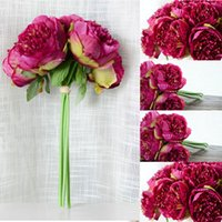 Wholesale Cheap Wedding Arrangements - Promo Cheap Artificial Fake Peony Silk Flowers Bridal Bouquet Flower Arrangement Home Wedding Party Festival Table Garden Decor