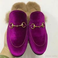 Wholesale Velvet Slippers Women Blue - 2017 Women Luxury Brand Velvet Slippers Autumn Winter Real Fur Flat Shoes European Designer Hot Sale Loafers Free Shipping M22