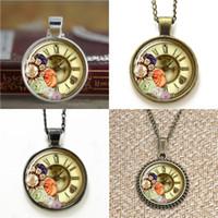 Wholesale steampunk clocks resale online - 10pcs Steampunk Clock and flower Glass Photo Necklace keyring bookmark cufflink earring bracelet