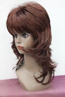ingrosso parrucca ondulata ondulata-2017 Nuova moda parrucca piena ondulata rossa di media lunghezza sintetica auburn rossa di alta qualità