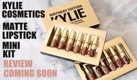Wholesale Green Matte - NEW Gold Kylie Jenner Lipgloss Cosmetics Matte Lipstick Lip Gloss Mini Leo Kit Lip Birthday Limited Edition with Gold Retail Packaging
