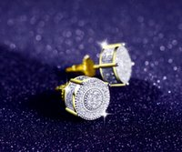 Wholesale Micro Earrings - 360 Round 14k two-tone and rohdium Plated CZ Micro Pave Bling Earrings