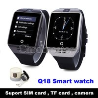 Wholesale Health Mobile - SmartWatch Q18 Wristwatch Touch Screen Camera TF Card Bluetooth Connected Fashion Health Clock Smart Watch for IOS Android Mobile phone
