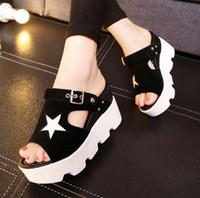 Wholesale sexy sandals high platform - 2017 new fashion Summer High-heeled buckles sandals Sexy Women Platform Sandals Wedge High Heels Shoes free shipping X392