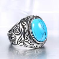 onyx ringe china großhandel-Tibetischen Schmuck Großhandel Titan Inlay Gott Retro Black Onyx Türkis Ring herrschsüchtig Mann
