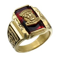 Wholesale High School Rings - Vintage Male Ring for Men Jewelry 1973 Walton Tiger High School Gold Stainless Steel Metal Ring