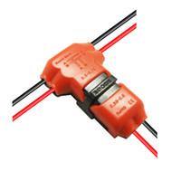 conector de bifurcación al por mayor-Conector de empalme rápido de 5pcs / package Wire Joint sin cable principal de cableado 22-18 AWG Branch 22-20AWG