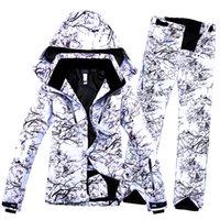 pantalon termico blanco al por mayor-Traje de esquí con estampado de flores a prueba de viento impermeable al aire libre blanco para mujer Conjunto de snowboard Chaqueta y pantalón Conjunto térmico de invierno Breathabel