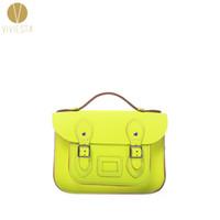"Wholesale Neon Satchels - Wholesale- 8.5"" MINI NEON BRITISH GENUINE LEATHER SATCHEL BAG - Women's Vintage Cute Fluro Candy Bright Cross Body Messenger Bag Handbag"