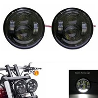 Wholesale led rings for headlights - New Daymaker LED Headlamps with ring For Harley Dyna Fat Bob FXDF Model Daymaker LED Lamps 5'' Fat Bob Headlight