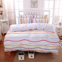 Wholesale Striped Full Flat Sheet - 2016 Beautiful Stripes Parttern Polyester Bedding Sets Hot Sales Duvet Cover Set Soft Flat Sheet Twin Full Queen King Size