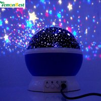 высококачественный звездный проектор оптовых-Wholesale- LemonBest New Romantic New Rotating Star Projector Moon Sky Rotation Night Light Lamp Projection with high quality Kids Bed Lamp