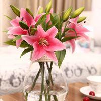 Wholesale Silk Lilies Bouquet - 3 heads Charming Real Touch Lily 36cm Artificial Flower Home Wedding Party Decor Silk Floral Decoration Bouquet