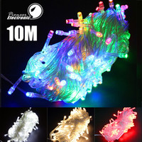 Wholesale Led Outdoor Xmas Lights Wholesale - Outdoor Indoor 110V 220V 9 Colors 10m 100 LED String Lights Holiday Christmas Xmas Wedding Decorations Party New Year's Lighting