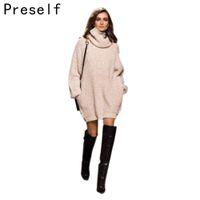 Wholesale Thick Knitwear Women - Wholesale-Preself Autumn Winter Women Pullover Oversized Jumper Thickening Female Fall Turtleneck warm Knitwear Knitted Sweater