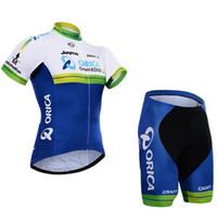 Wholesale Orica Cycling Set - Short Sleeve Cycling jerseys sets 2015 ORICA GREENEDGE Bike Jersey Bib Shorts with Gel pad Short Sleeve Bicycle wear maillot ciclo jersey