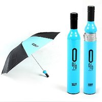Wholesale Wholesalers Designer Wine - High Quality Designer Personalized Clear Rain Umbrellas!Cute And Compact Manual 3 Folding Wine Bottle Umbrella For Sale