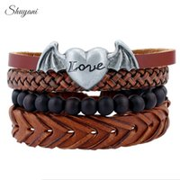 Wholesale Love Wooden Beads - Leather Weave Bracelet Fashion Adjustable Alloy Heart Love Wing Bracelet Wooden Beads Wristband Bangle Jewelry Making