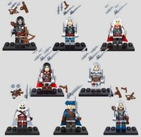 Wholesale Assassin Creed Ezio Toy - 8pcs lot Assassins Creed Minifigures Black Flag Edward James Connor Haytham Kenway Altair Ezio Block Toy For Kids