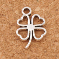 Barato Pendente Encantos Folha-Open Clover Leaf Charms Pingentes 300pcs / lot Antique Antique Jewelry Findings Componentes DIY L368 11.3x17mm Tibetan Silver