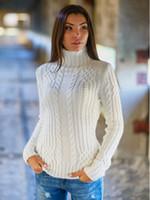 blusas femininas de cor sólida venda por atacado-Atacado-Womens Moda Outono Inverno Turtleneck torção manga comprida cor sólida bonito Casual Magro camisola de malha capuz Tops Sweater M0458