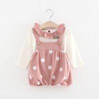 Wholesale Girls Tee Shirt Dress Wholesale - Cute Girls Polka Dot Suspender Dresses Outfits 2017 Girls Boutique Clothing Kids Dresses+Ruffle Tee Shirt 2 Piece Set
