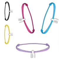 ingrosso braccialetto incanta i pendenti-New Brand Women Lover Bangle Handmade regolabile Corda catena Bracciale Charm blocco ciondolo in acciaio inox titanio per il regalo con la lettera