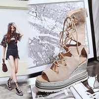 Wholesale Strappy Wedges Sandals - 2017 summer new style flat platform wedges gladiator ankle strap cool leather suede boots strappy sandals small size 32 female shoes