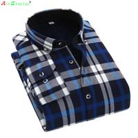camisa morna grossa dos homens venda por atacado-Atacado-AirGracias 2016 camisa Casual inverno quente de manga comprida Camisas de lã grossa Mens camisas de vestido de alta qualidade Camisas xadrez masculino Camisa