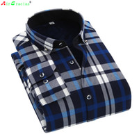 Wholesale Thick Warm Winter Mens Shirts - Wholesale- AirGracias 2016 Casual Shirt Winter Warm Long Sleeve Shirts Thick Fleece Mens High Quality Dress Shirts Male Plaid Shirts Camisa