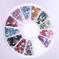 Atacado- 12 Mix Colors Nail Rhinestones Acrílico Nail Art Decoration 2mm Para UV Gel Iphone e laptop DIY Nail tools
