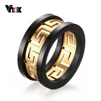 Wholesale Greek Rings - 2016 Men's Hollow Ring Gold Plated Greek Key Design Fashion Titanium Steel Party Jewelry Vnox R-170