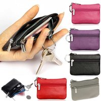 Wholesale Wholesale Leather Small Coin Pouches - Wholesale- PU Leather Coin Purses Women's Small Change Money Bags Pocket Wallets Key Holder Case Mini Pouch Zipper WML99
