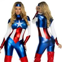 trajes de mujer al por mayor-2017 Capitán Americano Traje Superhéroe Cosplay Mujeres Skinny Zentail Traje Damas Capitán América Juego de rol Traje de Película