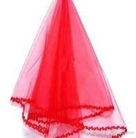Wholesale shoulder veils online - Stunning Red One Layer Short Bridal Veils With Lace Edge Color Cheap Wedding Veil Wedding Accessory In Stock