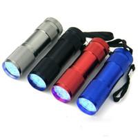 antorcha de buceo usada al por mayor-9 LED Mini Torch 4 colores Mini LED linterna 300LM LED antorcha linterna multifuncional linterna 3AA con pilas antorchas