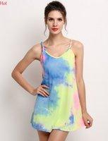Wholesale Dresse Women - New Lady Clothing Womens Sexy Casual Dresse O-Neck Summer Style Beach Dress Art Print Multi-color Sleeveless Strap Mini Dress SV024090
