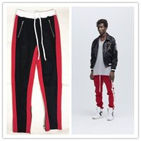 Wholesale vintage spandex pants - Mens Casual Pants Sports Wear Clothing for Man FOG GD Zipper Stripes Vintage Trousers Long Pants Loose Elastic Waist