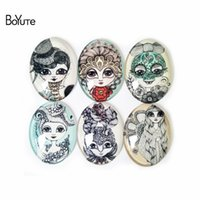 Wholesale Mixed Girls Products - BoYuTe Dropshiping Hot Product Cabochon 6Pcs Mix Image Flower Girl 30*40MM Glass Oval Cabochon Suitable For Earrings Ring Accessories