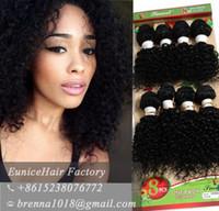 Wholesale Virgin Hair Usa - 8PCS Per pack Brazilian human virgin hair bundles kinky curly loose wave deep curly hairpeice for black women hair extension USA UK AFRICAN