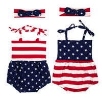 Wholesale patriotic clothing - Patriotic Baby Clothes Striped Ameican Flag Baby Girls Bodysuit Headband Set 4th Of July Baby Boy Clothes American Kids Sunsuit